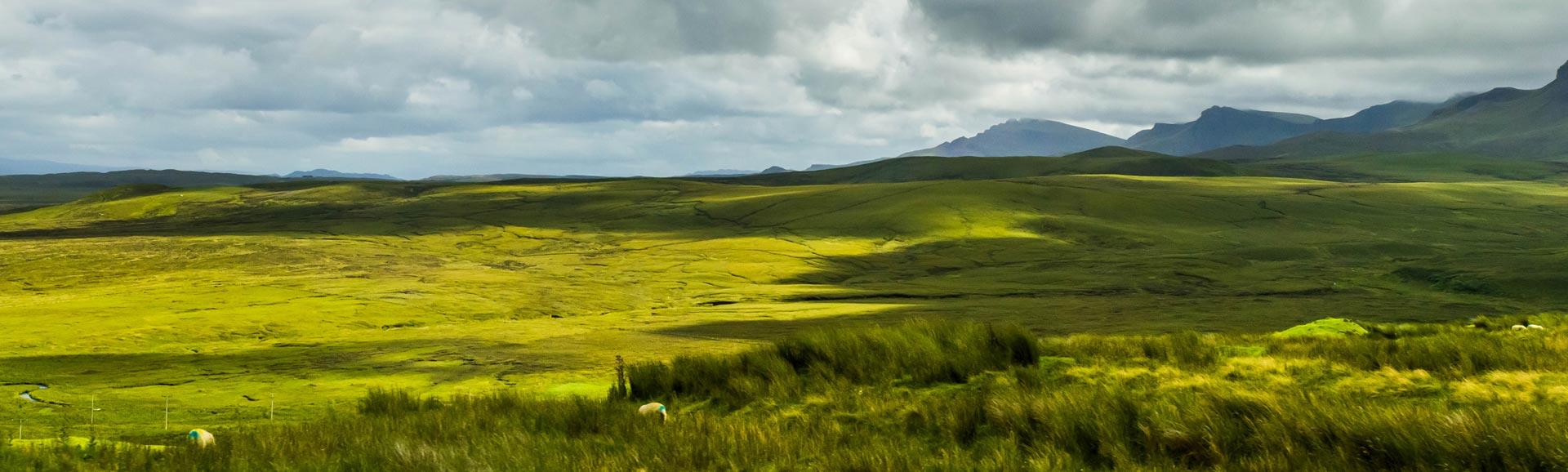 Panorama der Lowlands, Schottland.