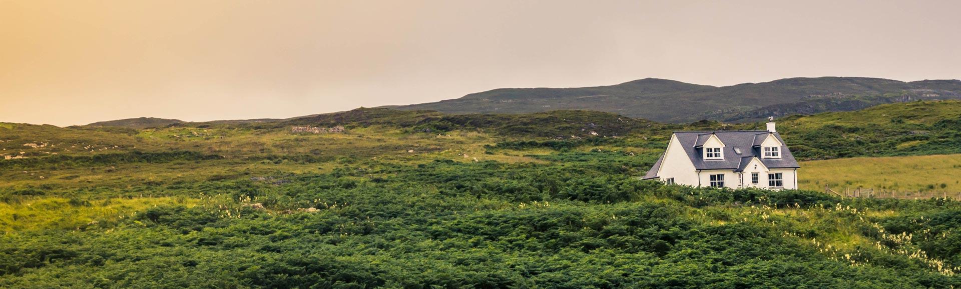 Ein einsames Haus in der grünen Landschaft der Lowlands, Schottland.