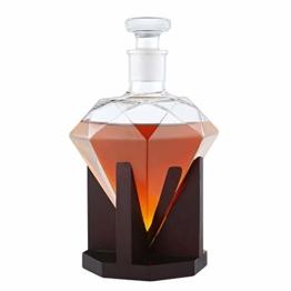 AMAVEL Whisky Karaffe in Form eines Diamanten – Dekanter mit luftdichtem Verschluss – Holz-Ständer – Klarglas – Decanter für Whiskey – Hergestellt in Handarbeit – 1000 ml - 1