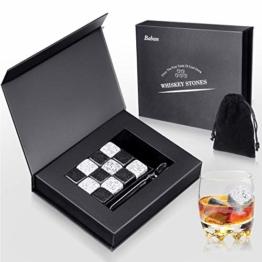 Baban Whisky Steine Geschenkset 12 Eiswürfel Wiederverwendbar, mit Eissteinklammern, Samtaufbewahrungstasche, Besondere Geschenke Whiskey Kühlsteine - 1