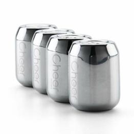 CHEER MODA Premium Edelstahl Whiskey Stones Geschenkset Edelstahl Wiederverwendbare Eiskühlsteine mit Zange für Whiskey Wein Heart Type cola Type Cube Shape (Cola Type) - 1