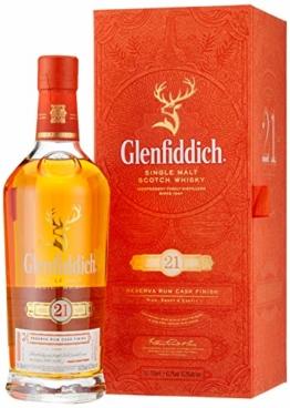 Glenfiddich Single Malt Scotch Whisky Reserva 21 Jahre – besondere Variante des meistverkauften Malt Sctoch Whisky der Welt mit Geschenkverpackung,  1 x 0,7l, 40% Vol. - 1