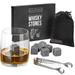 GOURMEO Whisky Steine aus natürlichen Speckstein I wiederverwendbare Eiswürfel, Whiskysteine, Whisky Stones, Kühlsteine, (9 Stück) - 1
