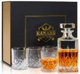 KANARS 5-teiliges Whiskey Karaffe Set, 750ml Whisky Dekanter mit 4x 300ml Gläser, Bleifrei Kristallgläser, Schöne Geschenk Box, Hochwertig - 1