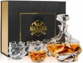 KANARS Whisky Karaffe und Gläser Set, Whiskey Dekanter 750ml mit 4×320ml Gläsern, Kristallglas Whiskybecher, Hochwertige Qualität, Luxuriös Geschenk, 5-teiliges - 1