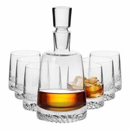 Krosno Whisky Set | 1 x 950 ml Karaffe & 6 x 300 ml Glas | Fjord Kollektion | Perfekt für Zuhause, Restaurants und Partys Whiskykenner - 1