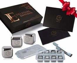 Le Flair Premium Edelstahl Eiswürfel Set -mit unglaublicher Kühlleistung– XXL Set mit 8 Whisky Steine aus Metall, Magnetbox, Zange, Einfrierbox und Poliertuch - 1
