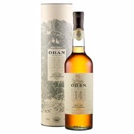 Oban Highland Single Malt Scotch Whisky – 14 Jahre gereift – Rauchig-torfig mit süßen und würzigen Noten – 1 x 0,7l - 1