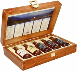 Pràban na Linne Whisky Probier- und Geschenkset (5 x 0.05 l): 5 x 50 ml in hochwertiger Holzkiste | Té Bheag, MacNaMara, Poit Dhubh 8, Poit Dhubh 12, Poit Dhubh 21 | Whisky Geschenkset & Probierset - 1
