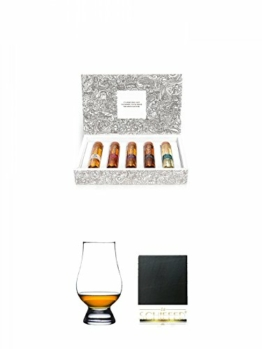 Tastillery Whisky Tasting Probierset Whisky Weltreise in Geschenkbox 5 x 50ml + The Glencairn Glass Whisky Glas Stölzle 1 Stück + Schiefer Glasuntersetzer eckig ca. 9,5 cm Durchmesser - 1