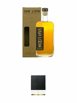 Van Loon 5 Jahre The First Hanseatic Single Malt Whisky 42% 0,5 Liter + Schiefer Glasuntersetzer eckig ca. 9,5 cm Durchmesser - 1