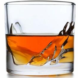 Whiskyglas 4er Set - Schwere Whiskygläser Best as Old Fashioned Gläser, Scotch, Bourbon oder Bar Drinks in einem wunderschönen Mountain Design mit dickem und schwerem Gewicht unten Barzubehör. - 1