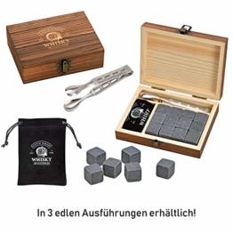 WOMA Whisky Steine Set - 6, 9 & 12 Eiswürfel wiederverwendbar aus Basalt mit Samtbeutel, hochwertiger Holzbox und Edelstahl Zange, Geschmacksneutral, Kein Verwässern für Whiskey, Wodka, Gin & Mehr - 1
